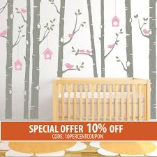 Nursery Stickers Birch Tree Decal Birds Wall Sticker Set Baby Nursery Wall Decals