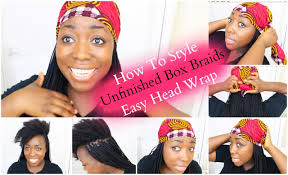 womens hairstyle the box style box braids hairstyle unfinished box braids easy head wrap with