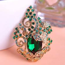 2018 retro emerald green large peacoke crystal brooches vintage