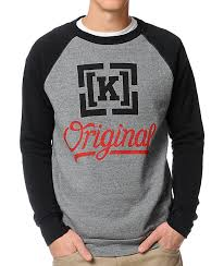 kr3w original 4 heather grey u0026 black crew neck sweatshirt zumiez