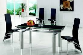 Astounding Extending Black Glass Dining Table And  Chairs Set - Black glass dining room sets