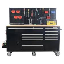 heavy duty tool cabinet frontier 62 in 10 drawer tool chest cabinet with pegboard back wall