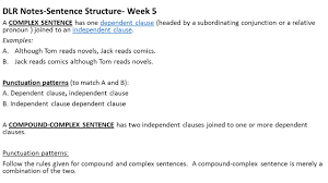 dlr notes sentence structure week 5 a complex sentence has one