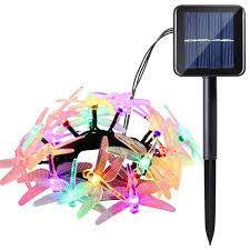 Solar Powered Icicle Lights by Icicle Christmas Solar String Light 16ft 20 Led 8 Modes Dragonfly