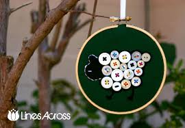 button sheep embroidery hoop ornament christmas ornament 1