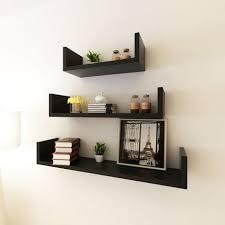 wall display black mdf u shaped floating wall display shelves book dvd storage