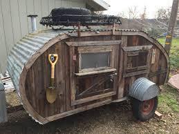 tiny yellow teardrop barnwood teardrop trailer for sale