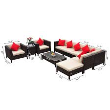sofa table chair outsunny 9pc rattan furniture lounger set sectional sofa table