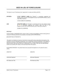 deed in lieu of foreclosure template u0026 sample form biztree com