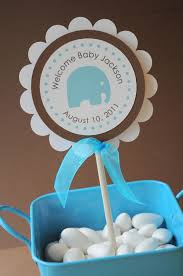 boy baby shower cake topper elephant theme personalized with cake