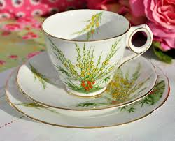 Vintage China Patterns by Royal Stafford Broom Hand Finished Teacup Trio C 1934 Gladstone