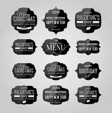 vector set of vintage black glossy plastic labels for christmas