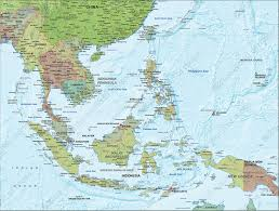 East China Sea Map Digital Political Map South East Asia With Relief 1313 The World