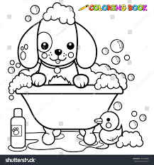 dog tub taking bath coloring book stock vector 272724308