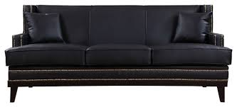 Bonded Leather Sofa Modern Soft Bonded Leather With Nailhead Trim Details Midcentury