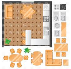 room designing kitchen plan with furniture set vector image
