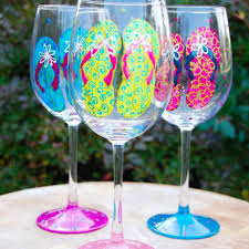 flip flops painted wine glasses glorious goblets