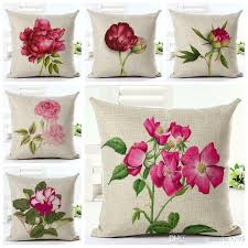 pink floral throw pillow case for sofa chair bed fuchsia flowers