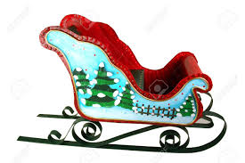 bright festive sleigh adorned with trees that is a