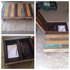 diy rustic recycled pallet coffee table with desk compartment on