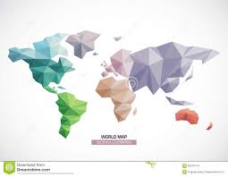 Free Vector World Map by Vector World Map Design Triangle Pattern Stock Vector Image