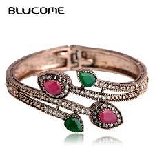 bangle bracelet with crystal images Blucome vintage green branch flower bangles red water drop resin jpg