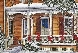 houses old farmhouse porch christmas cold garland wreathes