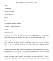 Recommendation Letter Format Exle letter of re mendation for scholarship 8 free word excel ideas