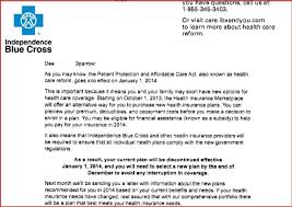 health insurance cancellation letter sample docoments ojazlink