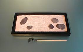 zen rock garden in bass wood relaxing stress reducing and