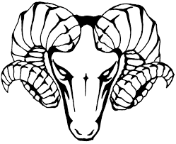 frightening outline ram head with evil eyes tattoo design