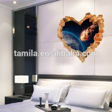 Removable Pvc Waterproof Love Heart Break Through Wall Self Adhesive
