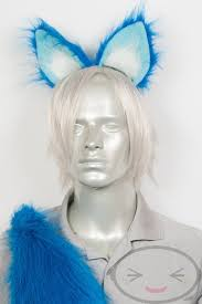 Water Halloween Costume Furry Water Fox Ears Tail Halloween Costume Blue Teal