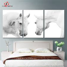 Home Decor Canvas Art by 3 Pieces Canvas Art Animal White Horses Decorative Wall Art