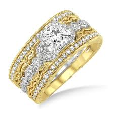 white gold engagement ring with yellow gold wedding band 1 50 carat antique trio bridal set engagement ring with princess