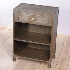 distressed metal bedside table with drawer and two shelves plus 4 distressed blue wooden bedside table