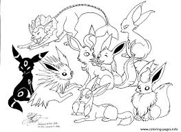 pokemon eevee evolutions coloring pages printable