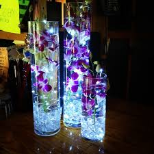 Led Light Base For Centerpieces by Submerged Purple Dendrobium Orchids With Underwater Led Lighting