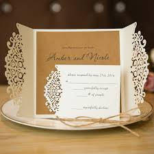 formal white laser cut wedding invitation cards with band ewts015