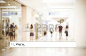 blur store and bokeh light with address bar shopping