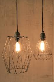 vintage inspired wire pendant lamp with flexible flared base cloth