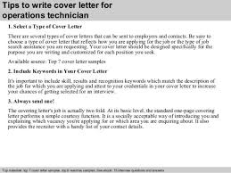operations technician cover letter