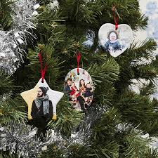 personalised photo tree decorations ceramic ornaments