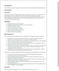 sample resume caregiver sample resume for caregiver private duty