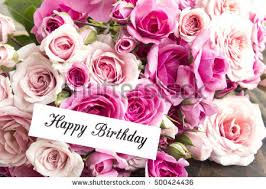 happy birthday card bouquet pink roses stock photo 500424436