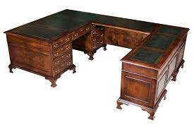 U Shaped Office Desk Large Burl Walnut U Shaped Office Desk