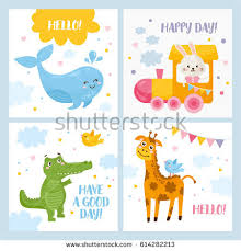 friendly animal characters card template vectors free