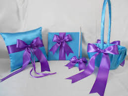 purple guest book wedding turquoise purple flower girl basket ring pillow guest book