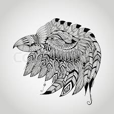 vector tattoo black hand drawn highly detailed eagle head native