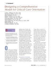 designing a comprehensive model for critical care orientation pdf